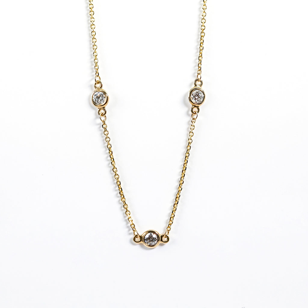 14K Yellow Gold Diamonds By the Inch Necklace