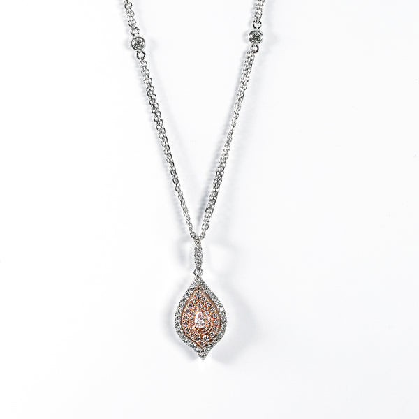 18K White & Rose Gold with Drop Pendant with Pink & White Diamonds