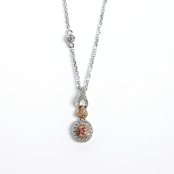 18K White & Rose Gold Oval Halo Pendant with Pink & White Diamonds