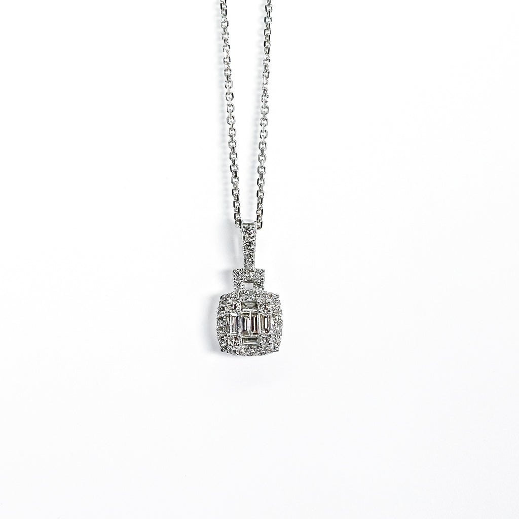 14K White Gold Pendant with Round & Baguette Diamonds