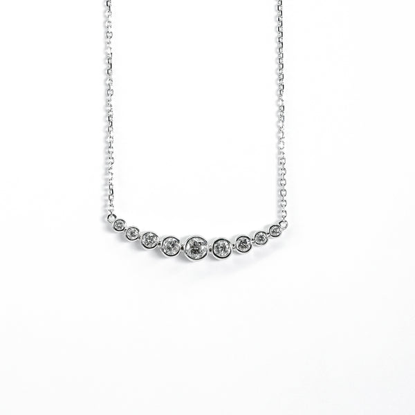 14K White Gold Curved Pendant with Diamonds