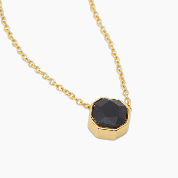 Power Gemstone Necklace for Protection, Yellow/Black Onyx