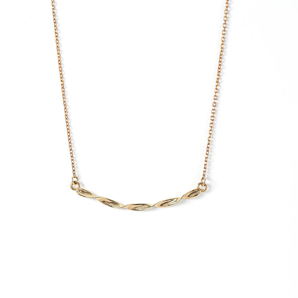 14K Yellow Gold Twisted Ribbon Bar Necklace