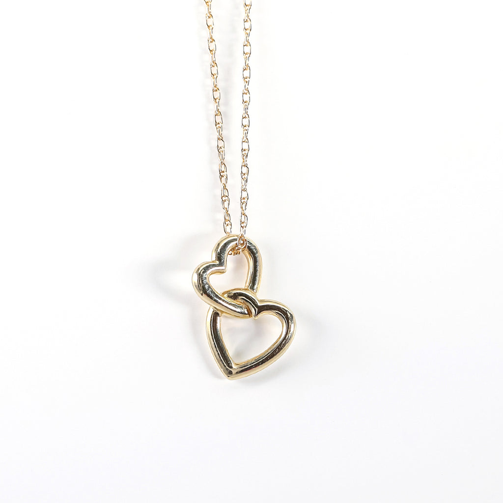 14K Yellow Gold Interlocking Heart Pendant