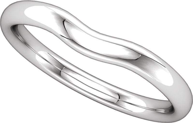 14 Karat White Gold Curved Band