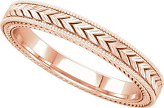 14 Karat Rose Gold Wheat Pattern Band
