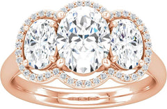 14 Karat Rose Gold Diamond Engagement Ring Mounting