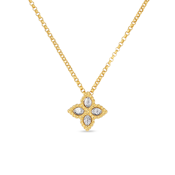 Roberto Coin 18-Karat Yellow Gold Small Diamond Princess Flower Necklace