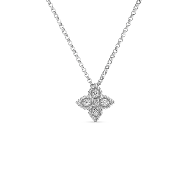 Roberto Coin 18-Karat White Gold Small Diamond Princess Flower Necklace