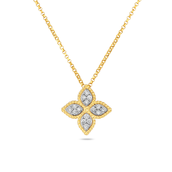 Roberto Coin Medium Princess Flower Diamond Necklace