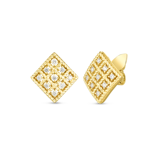 Roberto Coin 18K Gold & Diamond Byzantine Barocco Small Square Stud Earring