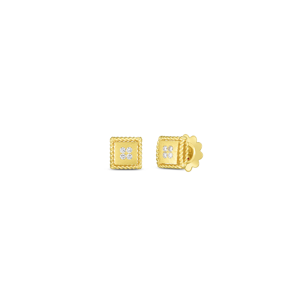 Yellow Gold Palazzo Ducale Satin Stud Earring with Diamond Accent