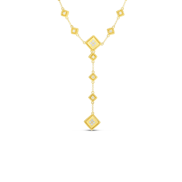 "18K Palazzo Ducale Satin ""Y"" Necklace with Diamond Accents"