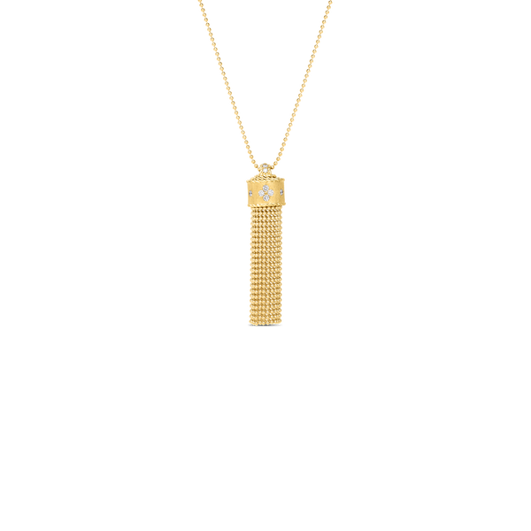 Roberto Coin 18 Karat Yellow Gold Diamond Princess Tassel Necklace