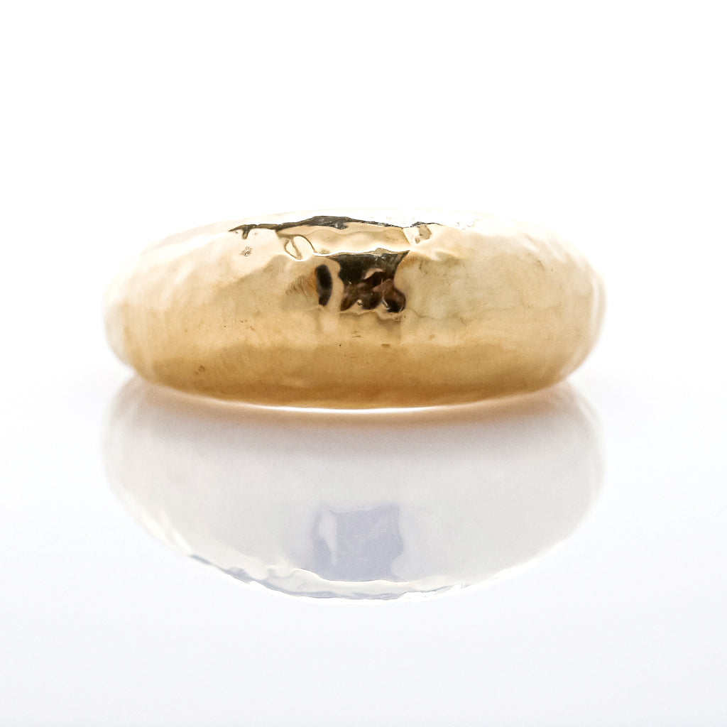 18K Gold Hammered Thin Domed Ring