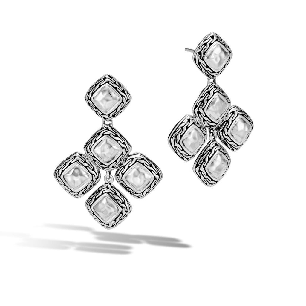 John Hardy Classic Chain Heritage Quadrangle Drop Earrings