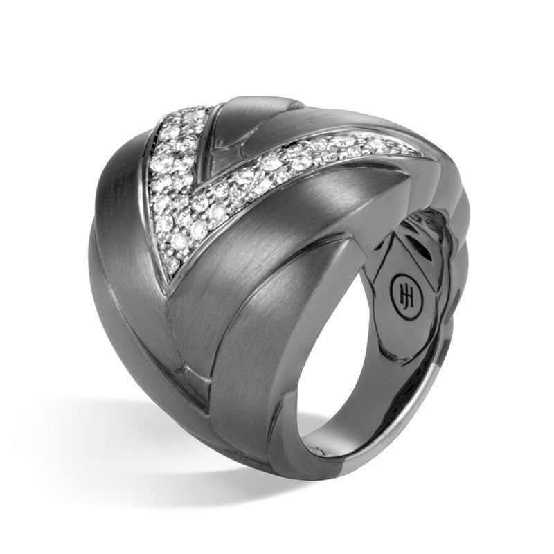 John Hardy Modern Chain Wide Blackened Brushed Silver & Diamond Ring
