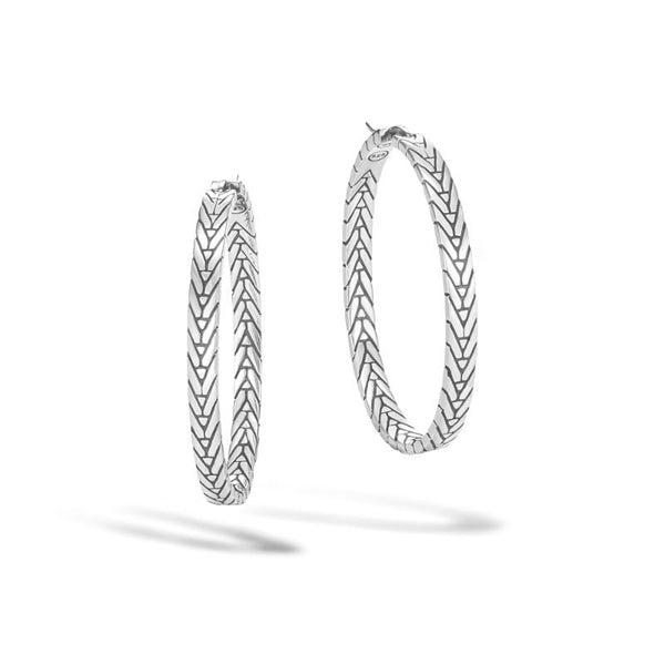 John Hardy Modern Chain Medium Hoop Earring in Silver