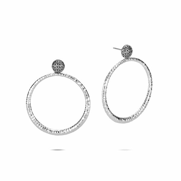 John Hardy Classic Chain Round Earrings in Hammered Silver
