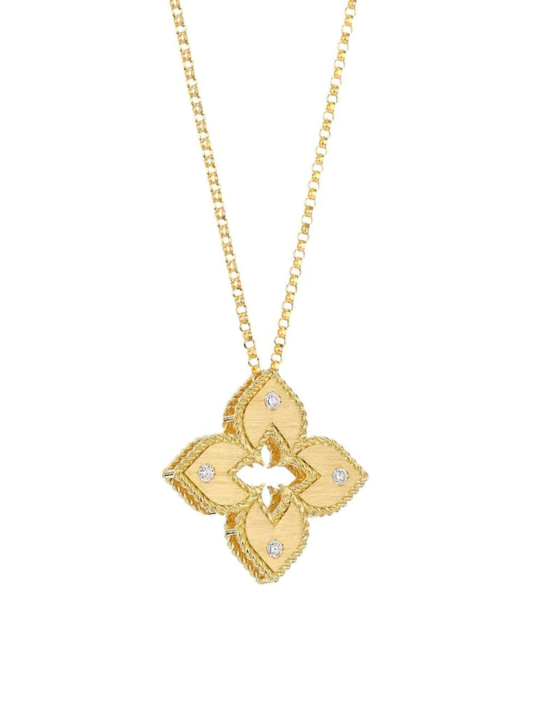 Roberto Coin Yellow Gold Diamond Princess Flower Pendant with Diamonds