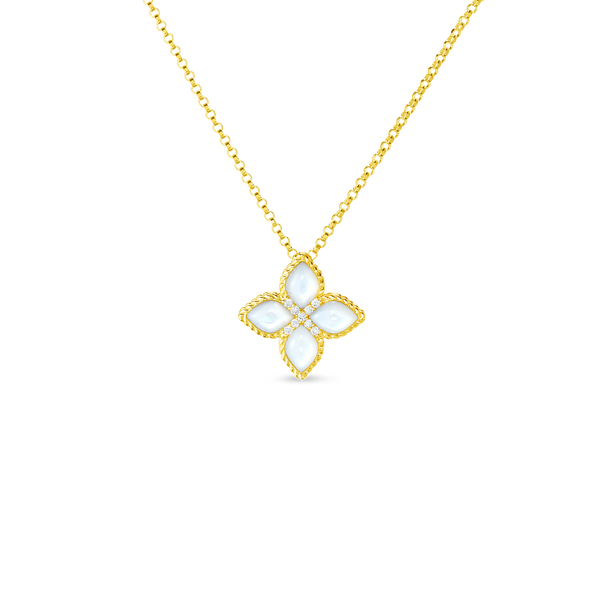 Roberto Coin Princess Flower MOP and Diamond Pendant