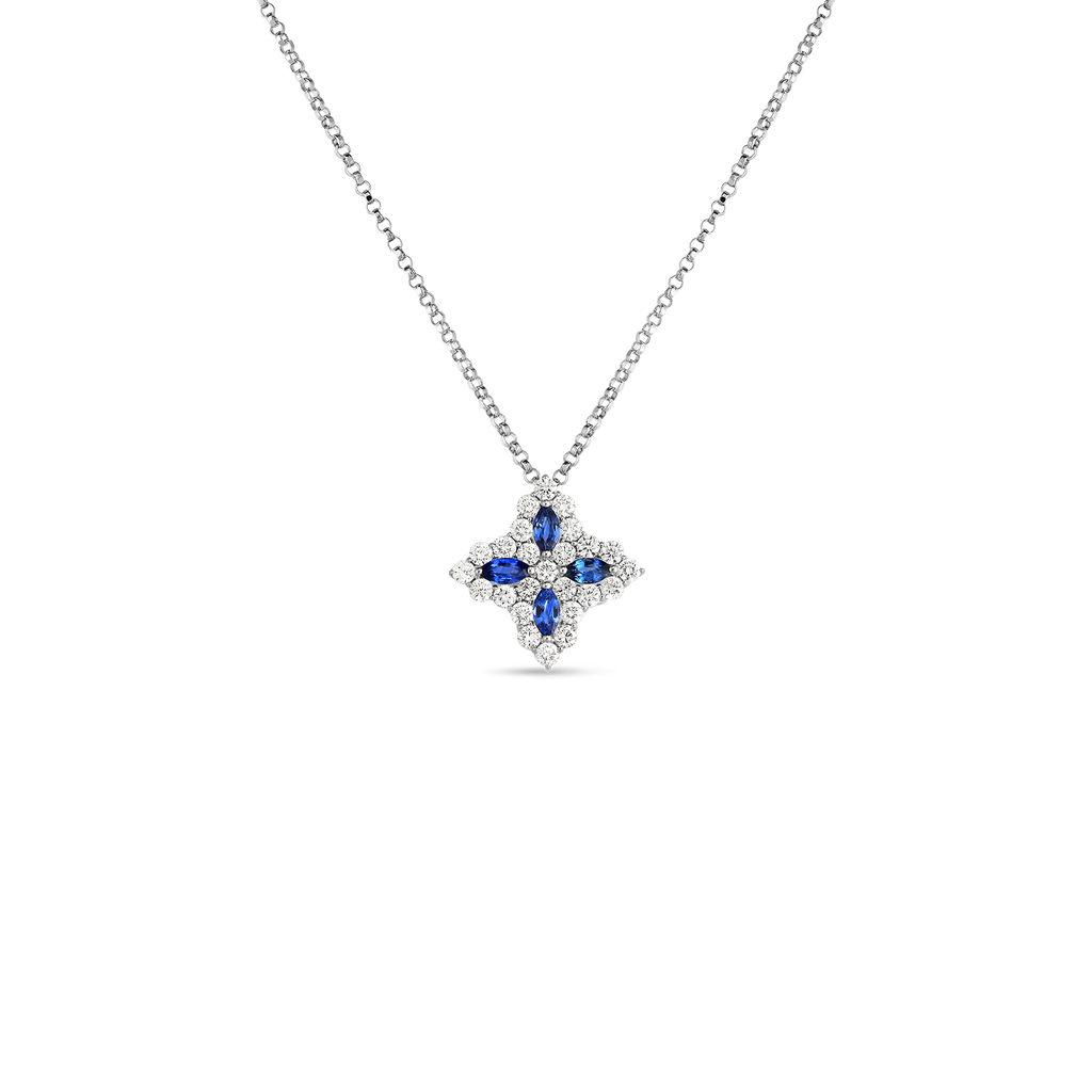 Roberto Coin Princess Flower Sapphire and Diamond Pendant