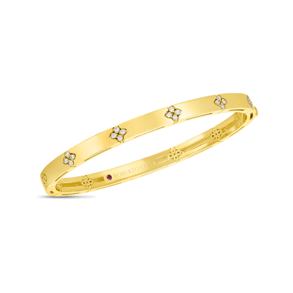Roberto Coin 18K Yellow Gold Verona Narrow Width Bangle with Diamond Accent