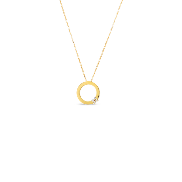 Roberto Coin 18 Karat Yellow Gold Diamond Love in Verona Necklace