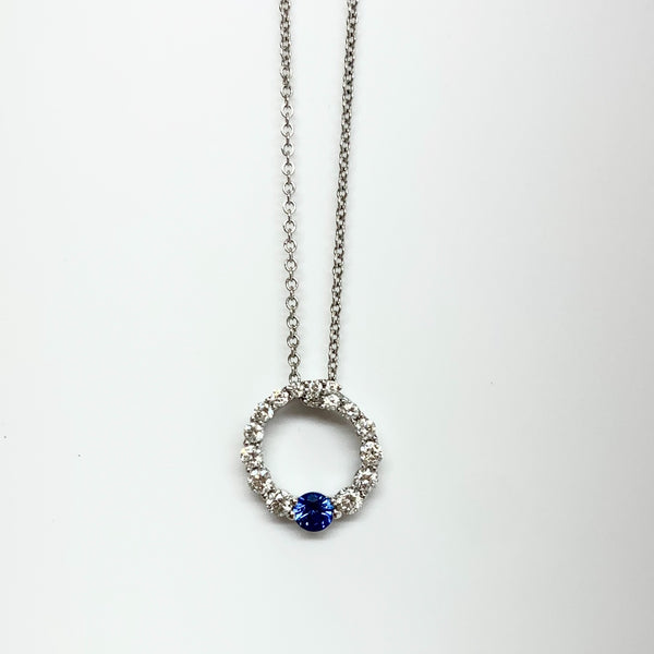 Diamond Circle Pendant with Sapphire
