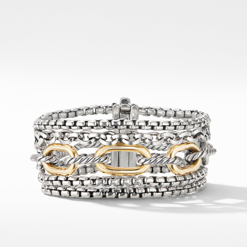 Multi-Row Chain Bracelet with 18K Yellow Gold