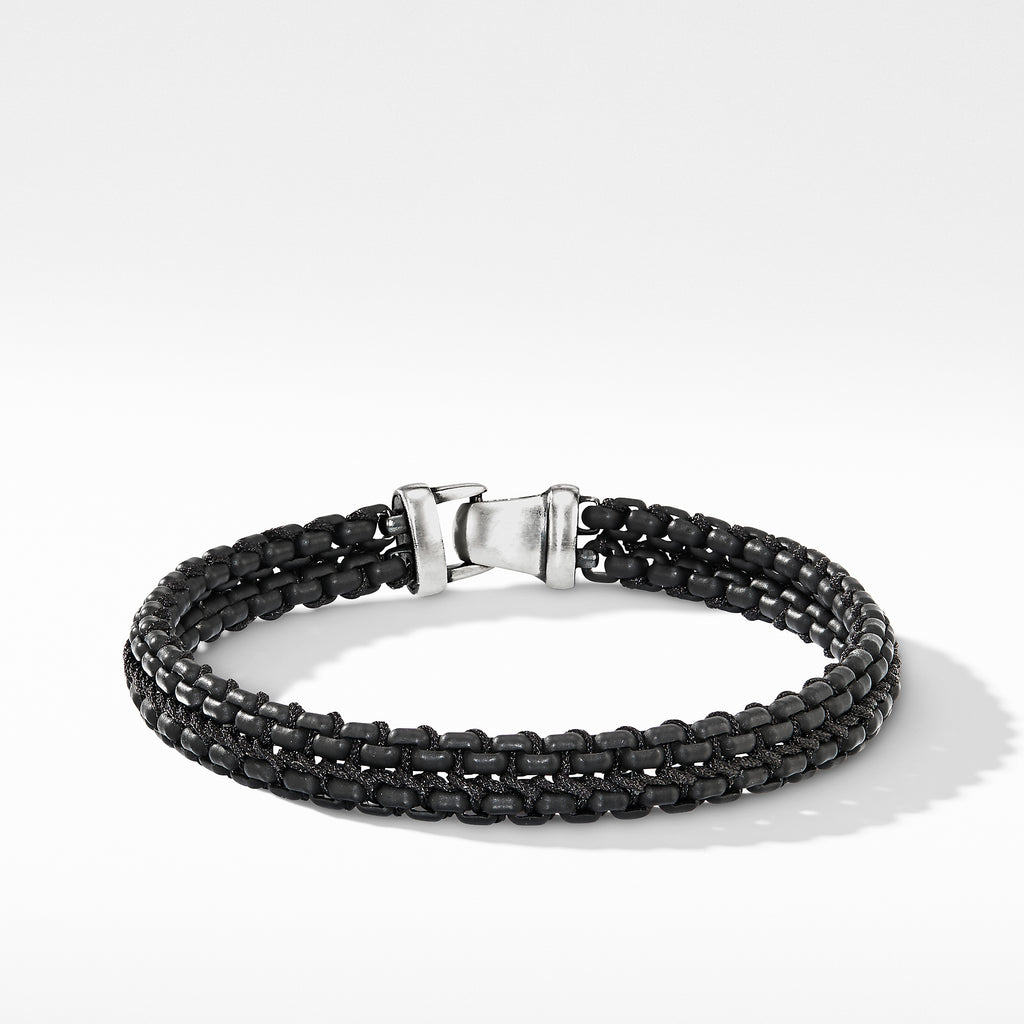 Woven Box Chain Bracelet in Black