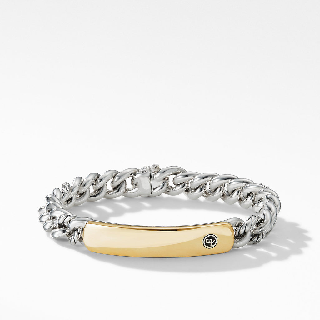 Belmont Curb Link ID Bracelet with 18K Yellow Gold