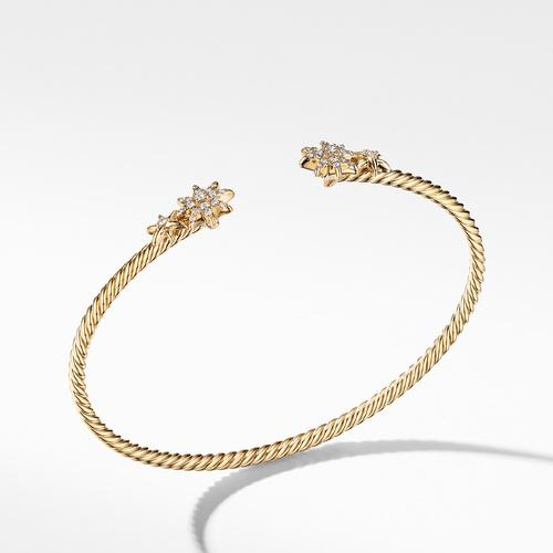 Petite Starburst Open Cable Bracelet in 18K Yellow Gold with Pavé Diamonds