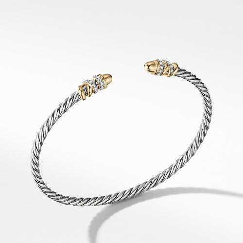 Petite Helena Open Bracelet with 18K Yellow Gold Gold Domes and Diamonds