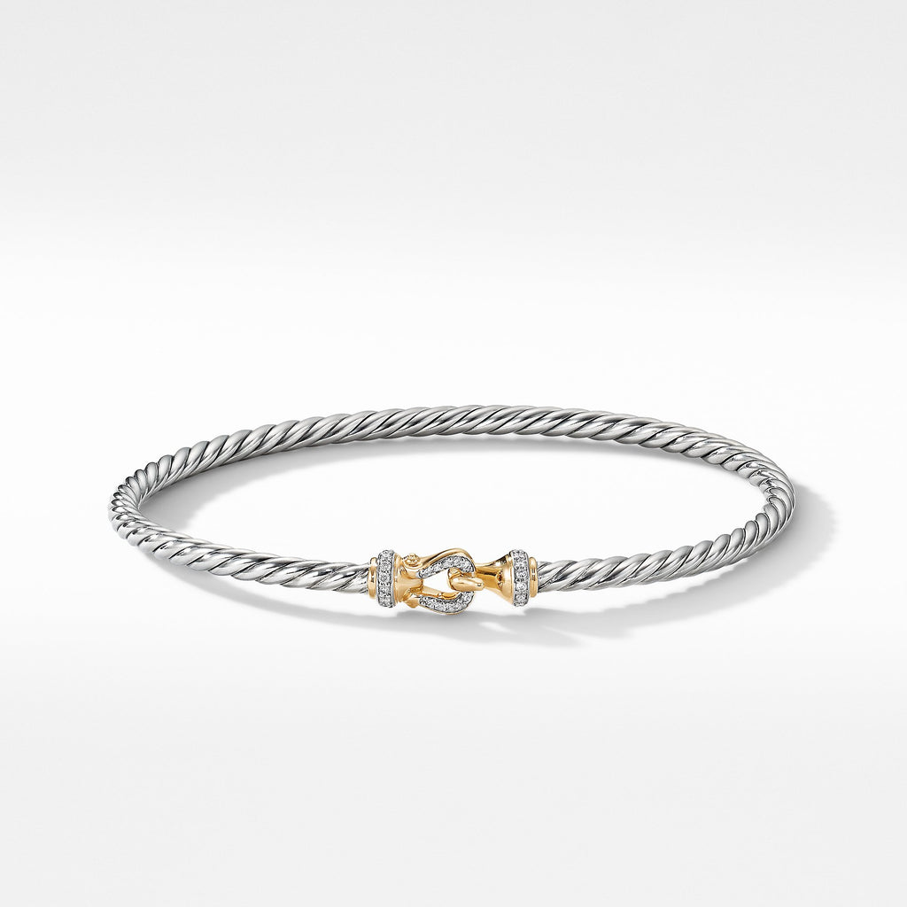 The Cable Collection® Buckle Collection Bracelet with 18K Yellow Gold and Diamonds