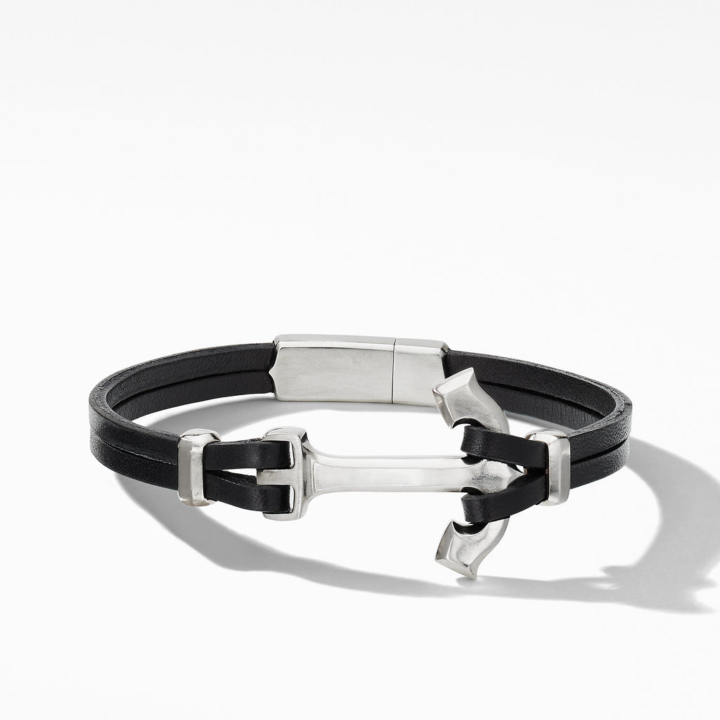 Maritime® Anchor Black Leather Wrap Bracelet