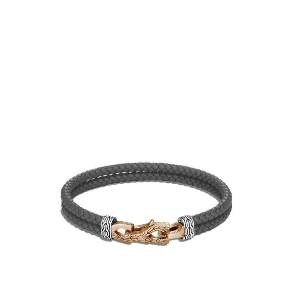John Hardy Asli Classic Chain Link Station Bracelet, Grey Leather