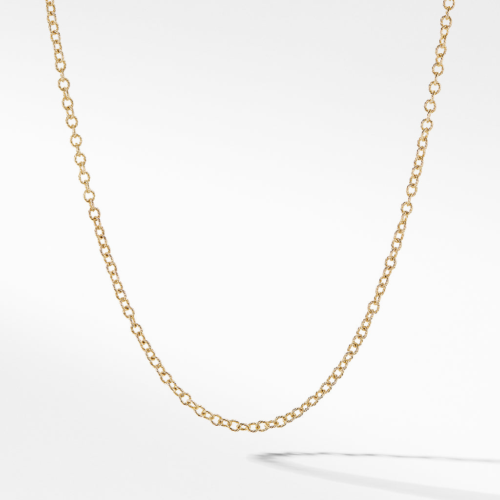 Small Cable Rolo Chain Necklace in Gold