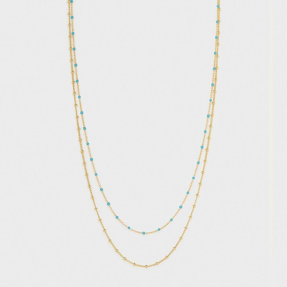 Capri Layer Necklace, Gold/Turquoise