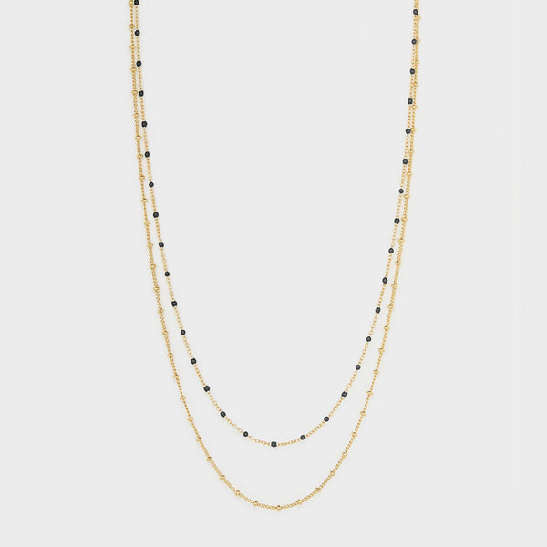 Capri Layer Necklace, Gold/Black Onyx