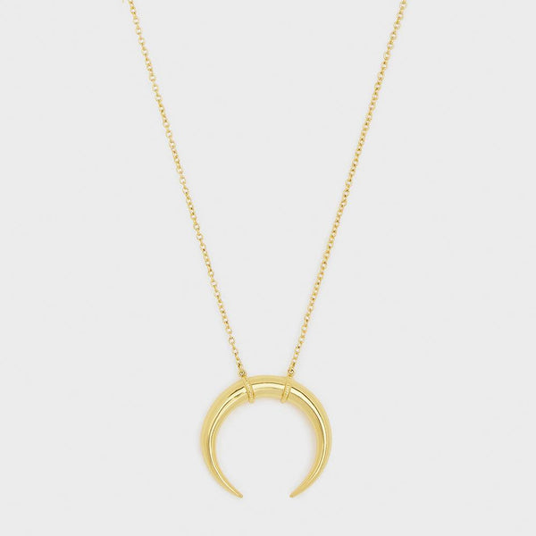 Cayne Crescent Pendant Necklace, Gold