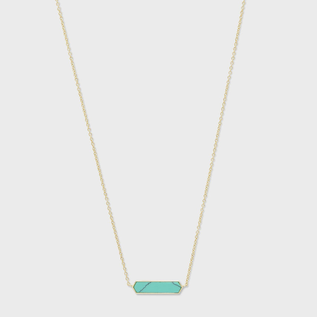Corina Charm Necklace, Green Turquoise/Gold