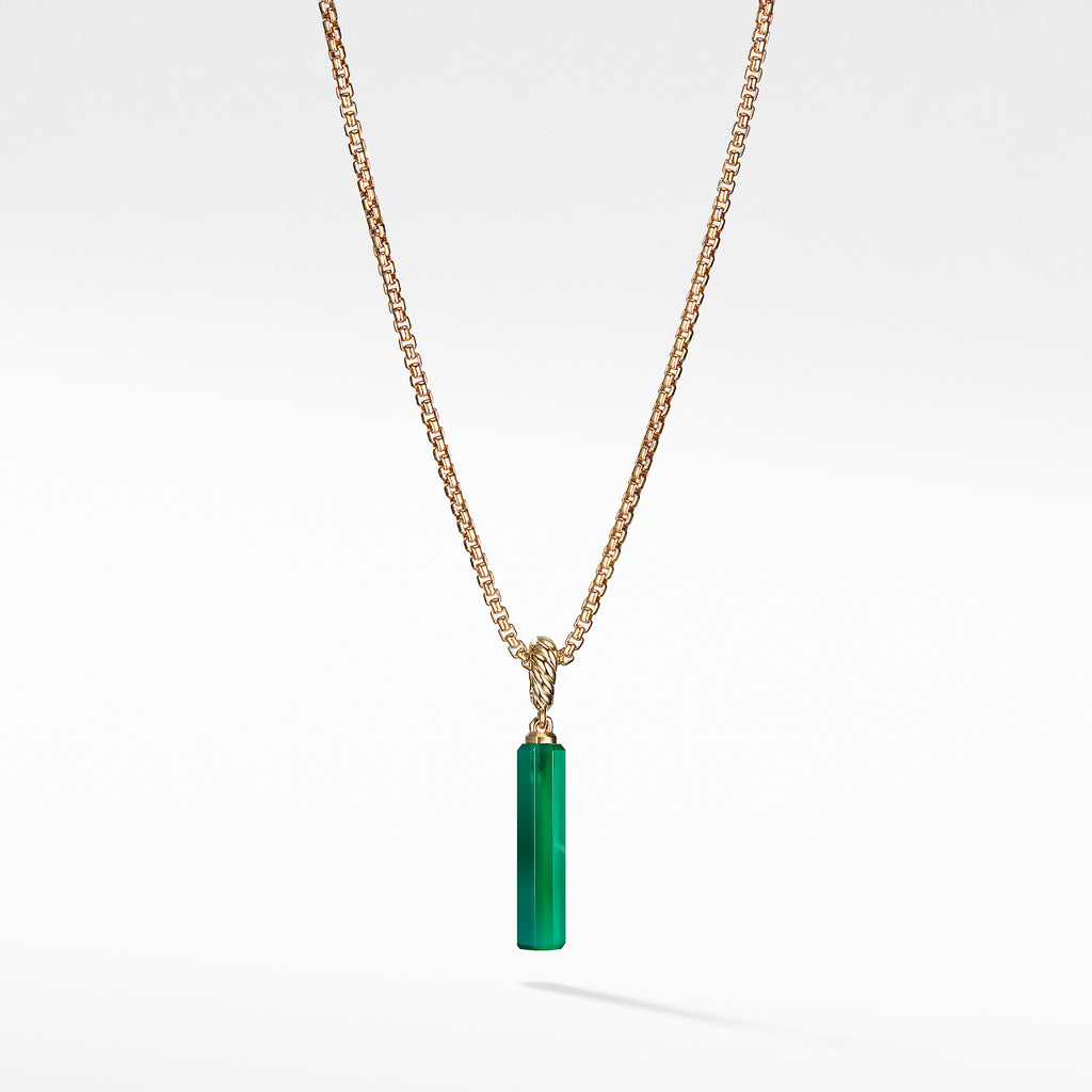 Barrel Charn in Green Onyx with 18K Gold