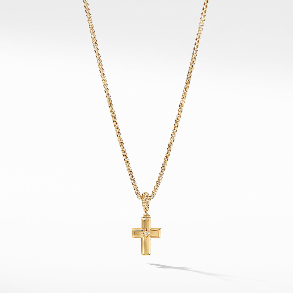Cross Pendant in 18K Yellow Gold with Diamonds
