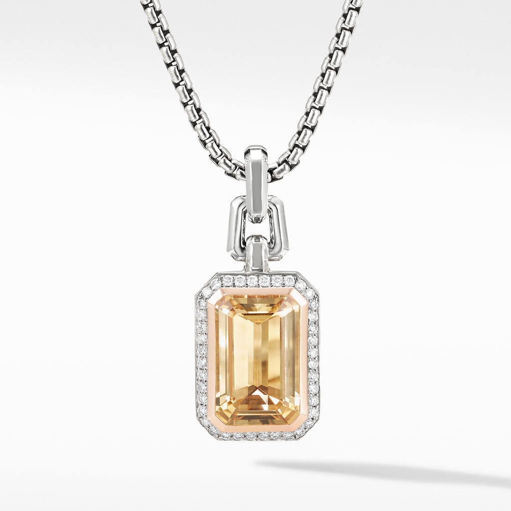 Novella Pendant with Champagne Citrine, Pavé Diamonds and 18K Rose Gold