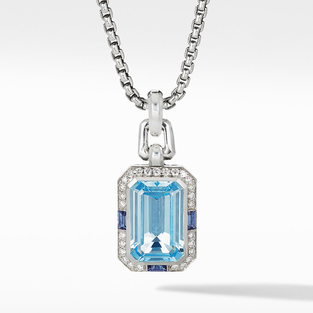 Novella Pendant with Blue Topaz, Sapphires and Pavé Diamonds