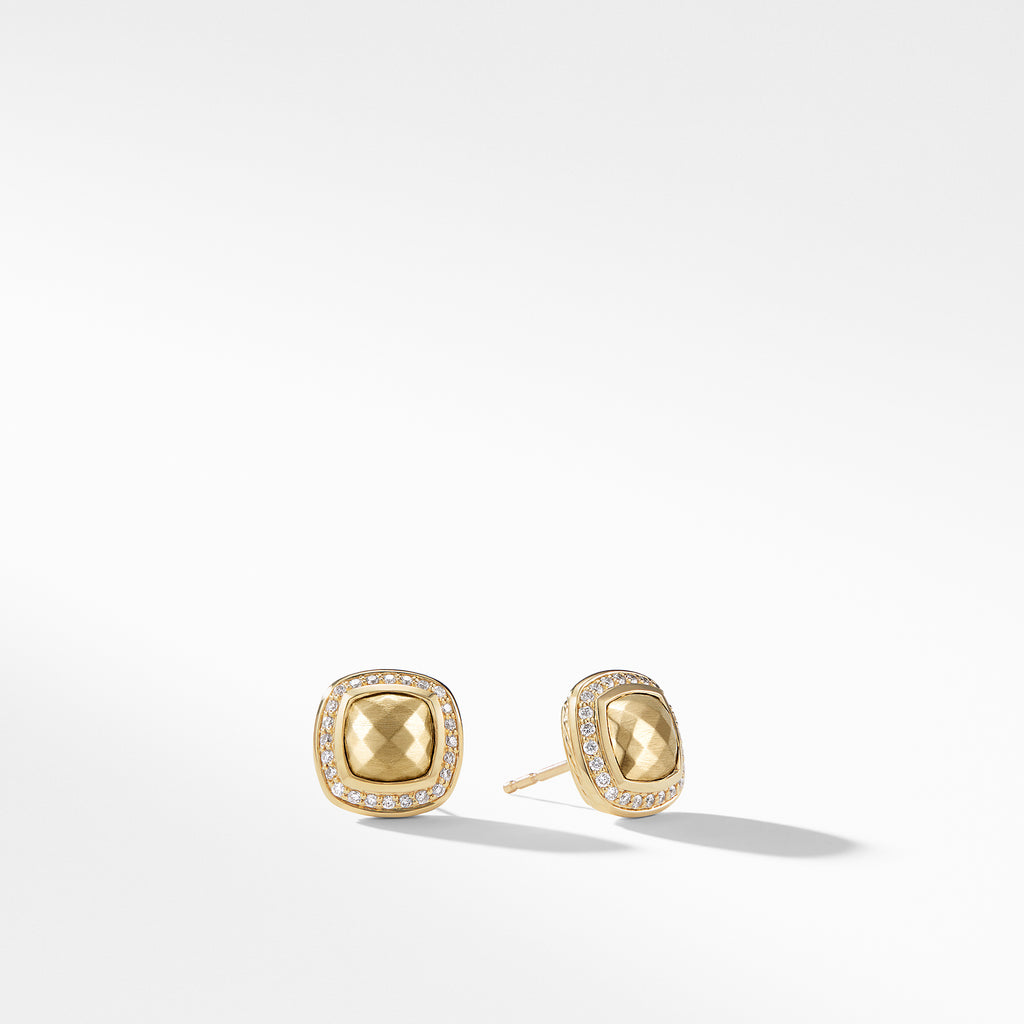 Earring with 18K Gold Dome and Diamonds
