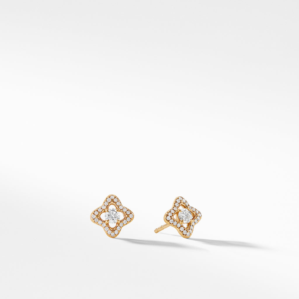 Venetian Quatrefoil® Earrings with Diamonds in 18K Gold