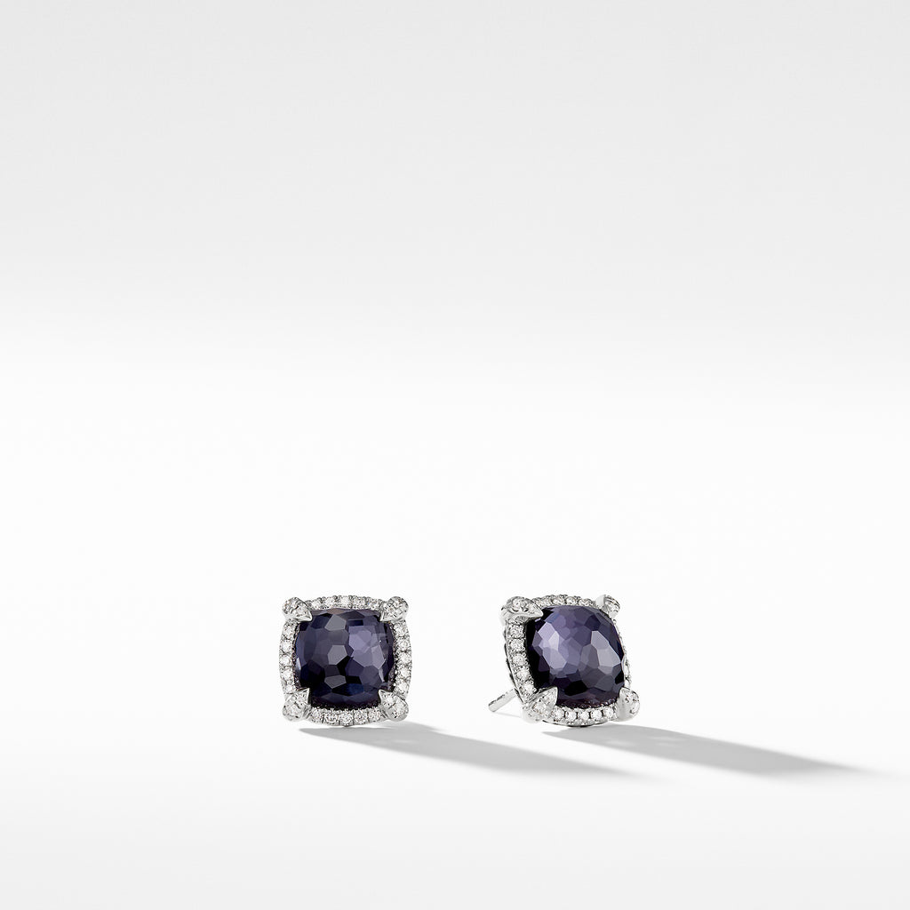 Chatelaine® Pavé Bezel Earring with Black Orchid and Diamonds mm
