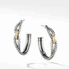 Cable Loop Hoop Earrings with 18K Gold